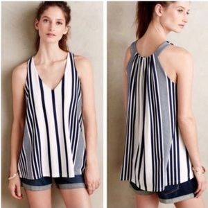 Anthro Puella Blue & White Striped Flowy Tanktop